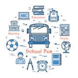 Concepto redondo azul del autobús escolar stock de ilustración