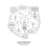 Concepto redondo de la electricidad stock de ilustración
