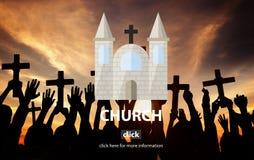 Concepto religioso de la asamblea de la adoración del templo de la fe de la iglesia Fotos de archivo libres de regalías