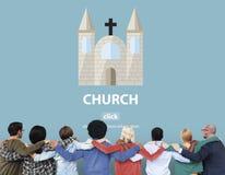 Concepto religioso de la asamblea de la adoración del templo de la fe de la iglesia Fotografía de archivo libre de regalías
