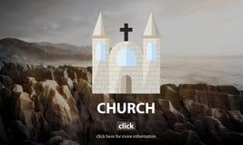 Concepto religioso de la asamblea de la adoración del templo de la fe de la iglesia Imagenes de archivo