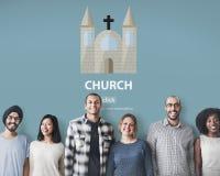 Concepto religioso de la asamblea de la adoración del templo de la fe de la iglesia Imagen de archivo