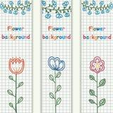 Concepto retro de las banderas de la flor Diseño del ejemplo del vector Fotos de archivo