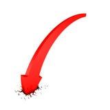 Concepto rojo del desplome del negocio de la flecha en agujero de la grieta Imagen de archivo libre de regalías
