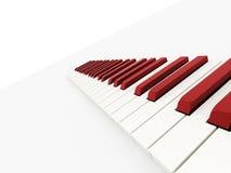 Concepto rojo del teclado de piano rendido stock de ilustración