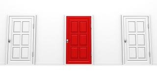 Concepto rojo y blanco bien escogido correcto del éxito de la puerta Foto de archivo libre de regalías