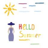 Concepto romántico del verano con el sol de la acuarela, texto Imagen de archivo libre de regalías