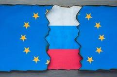 Concepto ruso y europeo de la bandera Imagen de archivo libre de regalías