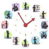 Concepto rutinario diario de los caracteres del reloj stock de ilustración