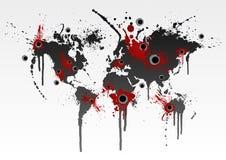 Concepto sangriento de la globalización stock de ilustración