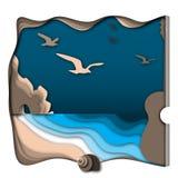 Concepto sano de la energía con el océano, la playa, las rocas, la concha marina y la guitarra Foto de archivo libre de regalías