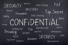 Concepto secreto confidencial de la nube de la palabra de la seguridad Fotografía de archivo