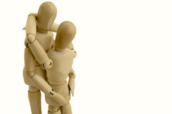 Concepto simulado de madera del abrazo de los pares imagen de archivo libre de regalías