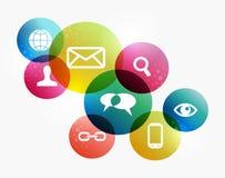 Concepto social colorido de la red Foto de archivo libre de regalías