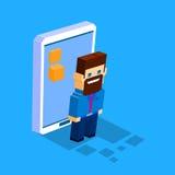 Concepto social 3d de la comunicación de la red del teléfono elegante de la célula del hombre de negocios isométrico Fotografía de archivo libre de regalías