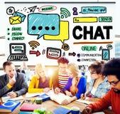 Concepto social de charla de Internet de la comunicación de la charla medios Foto de archivo libre de regalías