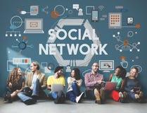 Concepto social de la comunicación de Digitaces de la conexión de red imagen de archivo libre de regalías