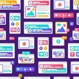 Concepto social de la comunicación de los medios del modelo del ejemplo del vector con las ventanas de navegador coloridas de la  stock de ilustración