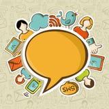 Concepto social de la comunicación de las redes de los media Foto de archivo