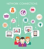 Concepto social de la conexión de red stock de ilustración
