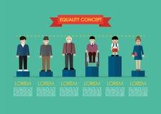 Concepto social de la igualdad del problema infographic ilustración del vector