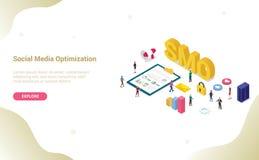 Concepto social de la optimización de los medios de Smo con el estilo isométrico plano moderno para la plantilla u homepage del a ilustración del vector