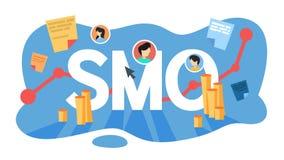 Concepto social de la optimización de los medios de SMO Publicidad en Internet ilustración del vector