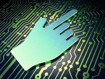 Concepto social de la red: Cursor del ratón en el circuito Imagenes de archivo