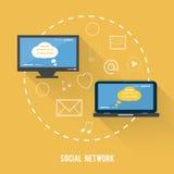 Concepto social de la red en diseño plano stock de ilustración