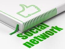 Concepto social de la red: reserve el pulgar para arriba, red social en el fondo blanco stock de ilustración