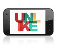 Concepto social de la red: Smartphone con desemejante en la exhibición ilustración del vector