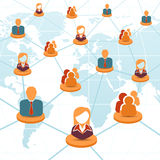 Concepto social de la red y del trabajo en equipo Imagen de archivo libre de regalías