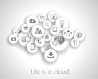 Concepto social de la vida de la red con referencia de la nube. stock de ilustración