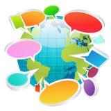 Concepto social de las burbujas de la charla de los medios por todo el mundo Fotos de archivo libres de regalías