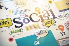Concepto social de los media Foto de archivo