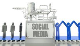 Concepto social de los media con la gente en grupo ilustración del vector