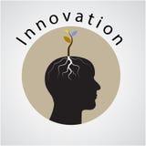Concepto social de los media El árbol del lanzamiento verde de la idea crece en la cabeza humana Imagen de archivo libre de regalías