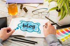 Concepto social del contenido de Media Communication del blog imagen de archivo