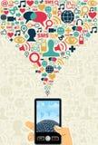 Concepto social del dispositivo móvil de los media stock de ilustración