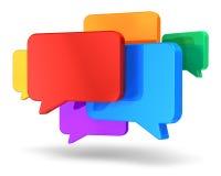 Concepto social del establecimiento de una red y de la charla Imagen de archivo