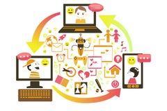 Concepto social del juego ilustración del vector