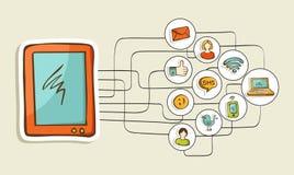Concepto social del ordenador de la tableta de los medios