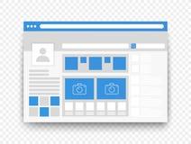 Concepto social del ui del interfaz de la página de la red aislado en fondo alfa transperant imagenes de archivo