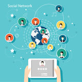 Concepto social del vector de la red Ejemplo plano del diseño para el web Fotografía de archivo