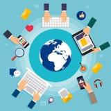 Concepto social del vector de la red Sistema de medios iconos sociales Imagen de archivo libre de regalías