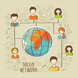 Concepto social global de la red con los medios iconos sociales Foto de archivo