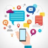 Concepto social móvil de los medios de la red Fotografía de archivo libre de regalías