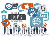 Concepto social social creativo de Vision del establecimiento de una red de las ideas medios Fotos de archivo libres de regalías