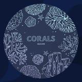 Concepto subacuático coralino del círculo en una línea arte libre illustration
