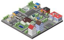Concepto suburbano isométrico stock de ilustración